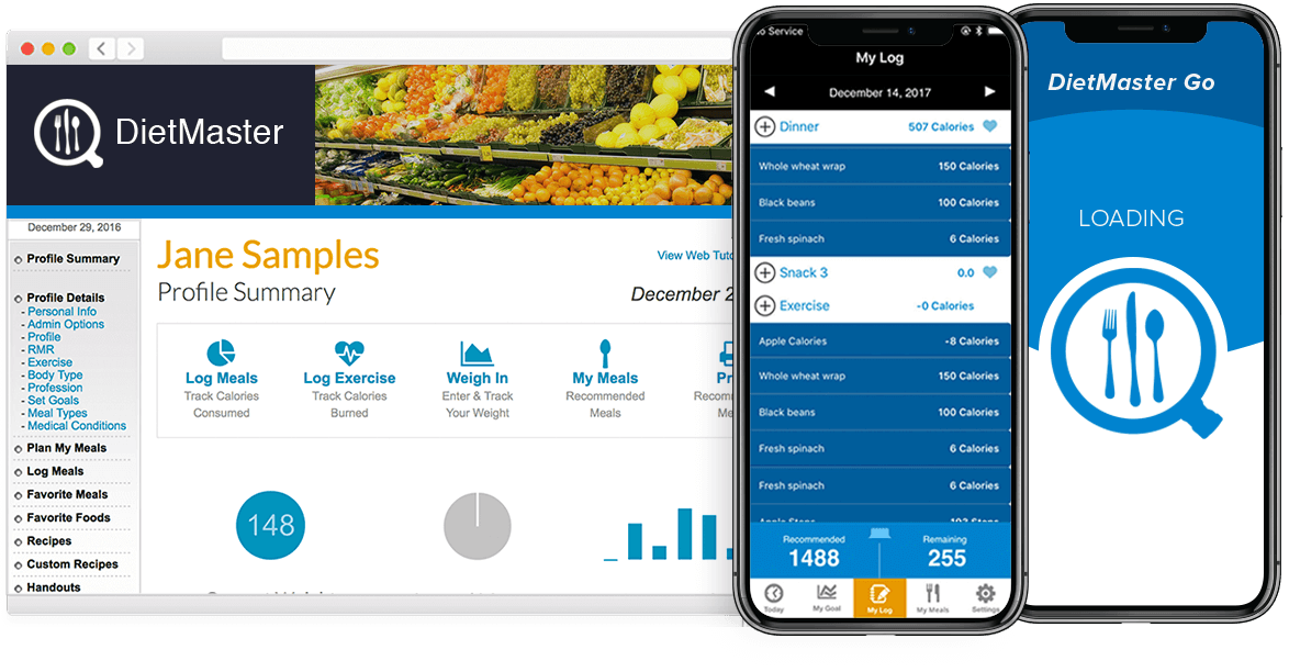Nutrition Software - Web Portal and Mobile App Screenshots